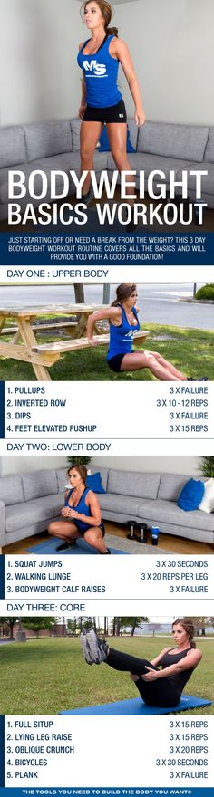 Just starting off or need a break from the weights? This 3 day bodyweight workout routine covers all the basics and will provide you with a good foundation.