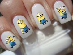 Minions Nail Decals by ThirstyWillow on Etsy, $2.25