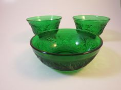 3 Vintage Green Bowls Anchor Hocking by BonniesVintageAttic