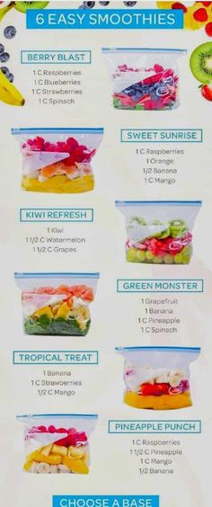 Easy smoothie recipes - make ahead smoothie packs you can put in the freezer food clean eating food healthy food ideas food photography food plan food recipes Make Ahead Smoothies, Apple Smoothies, Make Ahead Meals, Healthy Smoothies, Healthy Drinks, Diet Drinks, Vegetable Smoothies, Healthy Blender Recipes, Healthy Meals