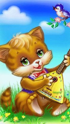 Oh so cute ~~J Shrek Cat, Gif Mignon, Cute Gifs, Funny Happy Birthday Song, Kitten Cartoon, Kitten Images, Image Chat, Beautiful Gif, Animation