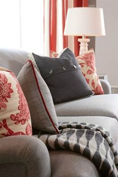 Sarah Richardson: red and grey living room. Grey And Red Living Room, New Living Room, Living Room Decor, Small Living, Living Spaces, Grey Couches, Gray Sofa, Suburban House, Red Accents