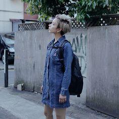ドロップスナップ!UNA (ユーナ) , モデル / アーティスト   droptokyo Normcore, Vest, Denim, Lady, Artist, Model, Jackets, Style, Fashion