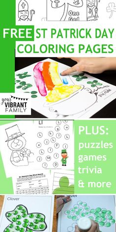 St Patrick Day is almost here! Celebrate this fun spring holiday with these awesome free St Patrick Day coloring pages, printables and activities.  There are oodles of St Patrick Day freebies here! Plus I've included a few other books and resources to help you celebrate this day of leprechauns, rainbows, shamrocks and of course, lots of green!