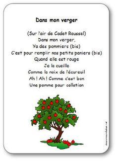 Paroles de la comptine Dans mon verger : Dans mon verger, Ya des pommiers, C'est pour remplir nos petits paniers, Quand elle est rouge, Je la cueille...