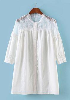 White Lace Patchwork Half Sleeve Cotton Blend Blouse