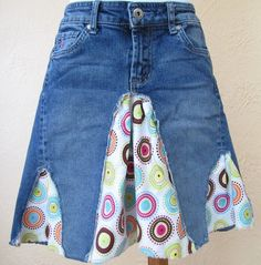 Girl's Upcycled Recycled Jean/Denim and Patterned Fabric Shabby Chic Hippie Skirt, Size 8