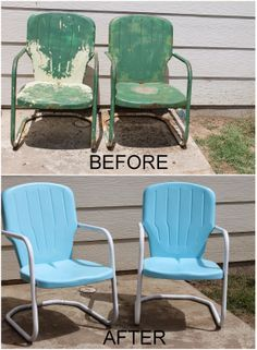Lyndi's Projects: ░▒▓ Outdoor Metal Chairs Get a New Look ▓▒░