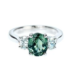 Green Sapphire Diamond Engagement Ring | From a unique collection of vintage engagement rings at http://www.1stdibs.com/jewelry/rings/engagement-rings/
