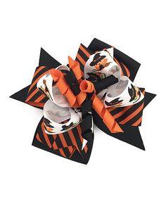 Love this Black & Orange Stripe Witch Bow Clip on #zulily! #zulilyfinds