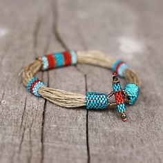 Colorful ethnic bracelet linen bracelet blue red by Naryajewelry
