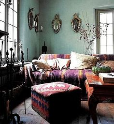 "Caroline Clifton mogg | Wall colour, warm kilim textiles. ""Italian Country Living"" by Caroline ..."