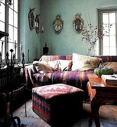 "Caroline Clifton mogg | Wall colour, warm kilim textiles. ""Italian Country Living"" by Caroline ..."