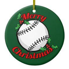 baseball merry christmas ceramic ornament - Baseball Christmas