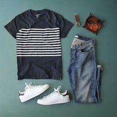 A dark colored stripped tee and jeans, go outside with white sneakers. Just do it!