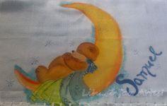 FRALDA ursinho na lua pintura em tecido  http://inovartartesanatosemeva.blogspot.com.br/2014/04/pintura-em-tecido-fralda-ursinho-na-lua.html