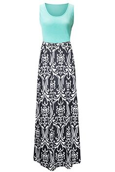 Zattcas Womens Summer Contrast Sleeveless Tank Top Floral Print Maxi Dress >>> Click here for more details @ http://www.amazon.com/gp/product/B01DZ446AM/?tag=passion4fashion003e-20&ef=230716141113