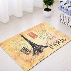 Eiffel Tower Soft Absorbent Bathroom Rug