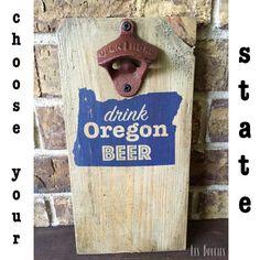 Custom State - Rustic Wood Wall Mount Beer Bottle Opener - Wide