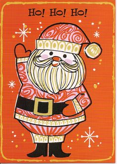 Vintage Retro Mod Orange and Pink Santa Christmas card, mid-century modern