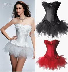Wholesale ON sale women Sexy Corsets Mini Tutu Skirt G string White Black Red Lace Up Boned Bow Satin Corselet Underwear Bustiers Sets suits 631, Free shipping, $15.67-19.27/Piece | DHgate