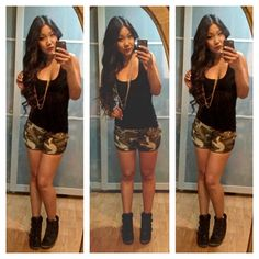 Relaxed Outfit #ootd #camouflage #camo #shorts #sneakerwedges #kicks #sneakers #fashionblogger #outfitoftheday