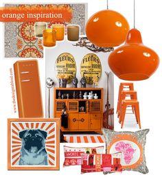 Some orange colour-coded decor inspiration via The Design Tabloid. Love the pug print!