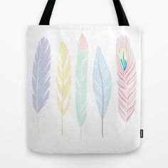 Whimsical Feather Art Tote Bag by Georgie Pearl Designs - $22.00
