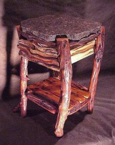 Nightstands From Natural Tree Furniture - Product Story Rustic Log Furniture, Twig Furniture, Sticks Furniture, Natural Furniture, Home Decor Furniture, Furniture Making, Barn Wood, Rustic Wood, Slab Table