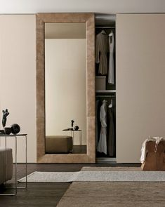 Sectional mirrored wardrobe with sliding doors mirror by presotto industrie mobili Bedroom Closet Doors Sliding, Modern Closet Doors, Bedroom Barn Door, Closet Mirror, Room Doors, Mirror Door, Closet Bedroom, Sliding Doors, Attic Closet