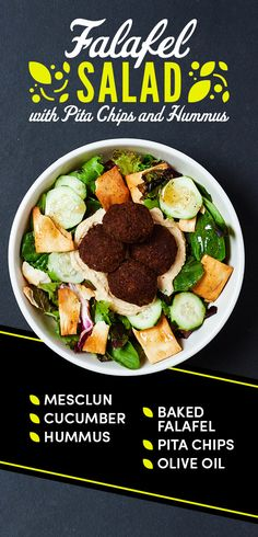 Falafel Salad with Pita Chips and Hummus | 12 Easy Salads You Can Pack For Lunch Again And Again