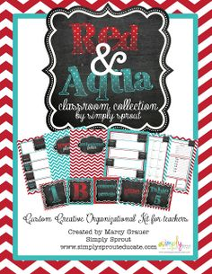 Organize your classroom with Red & Aqua Classroom Design Kit ~ Simply Sprout