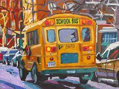 Yellow School Bus Fine Art Print 8x10, Painting by Gwen Meyerson. $20.00, via Etsy.