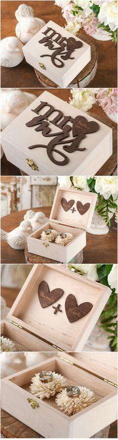 Mr & Mrs <3 Wooden Wedding Ring Bearer Box #rustic #boho #wood #weddingideas #romantic #handmade #weddingrings