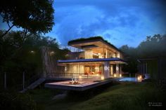 Modern House In Forest With Romantic Lighting Setting In Night Futuristic wooden home you have to see Home design