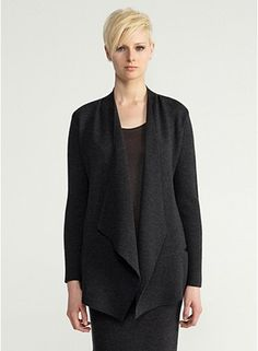 angle front jacket with leather trim, knee-length skirt -- my perfect suit at EILEEN FISHER