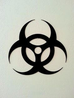 Biohazard Metal wall art This item is made of heavy gauge steel that is cut on a CNC plasma cutter and hand finished with flat black paint.