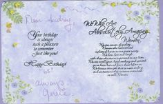 inside of birthday card for SISter. The stamped verses are all from Digital Princess Designs