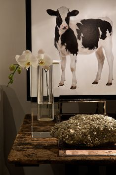 New York Showroom  Michael Dawkins Home Not sure I want a cow in my dining room but I mean... How CUTE is he?