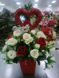 Valentine's heart roses table arrangement