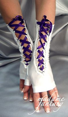 Sexy Long Lace Up Ribbon Tie Fingerless Gloves - White & Purple - Madame Fantasy