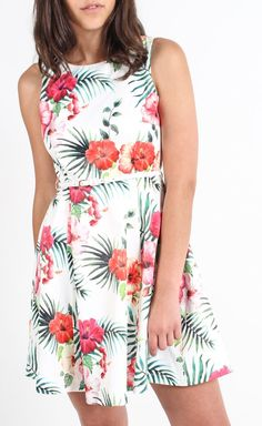 Sateen Hibiscus Belted Dress White/tropical