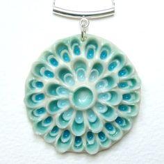 Ceramic pendant with flower mold