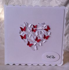 Simple Butterfly Heart Card (Memory Box Butterfly Heart Die) www.Facebook.com/DHMCards