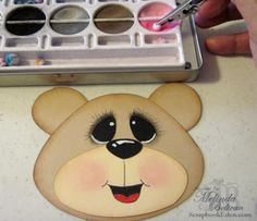 Creating Faces Tutorial by Melinda Beltran Pebbles Inc Dry Decorator Chalk Set Blue Glitter Gel Pen Black Fine Tip. Bear Face Paint, Cartoon Faces Expressions, Xmas Pictures, Xmas Pics, Bear Template, Nifty Crafts, Chalk Ink, Snowman Faces, Scrapbook Paper