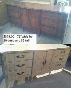 Sold. #vintage furniture #shabbychic french provincial dresser done in a restoration hardware type paint finish. Gorgeoud