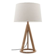 Mercator - Bobbie Table lamp in natural timber base with natural cotton shade. Lamp, Tripod Lamp, Bedside Lamp, Bed Lights, Homeware, Lights, Floor Lamp, Natural Table Lamps, Homewares Online