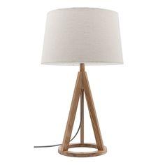 Mercator - Bobbie Table lamp in natural timber base with natural cotton shade. Natural Table Lamps, Bed Lights, Bedside Table Lamps, Tripod Lamp, Bar Stools, Temple, Lighting, Metal, Beautiful