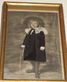antique print of girl with applied fabric