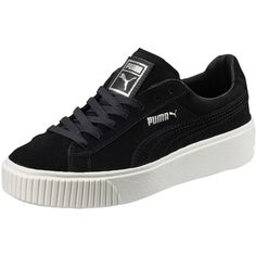 Puma Suede Platform Women's Sneakers ($100) ❤ liked on Polyvore featuring shoes, sneakers, woven shoes, high platform shoes, metallic sneakers, puma sneakers and sports trainer